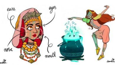 Photo of Illustrations de la tradition des tatouages amazighs par l'artiste Camelia Khadraoui